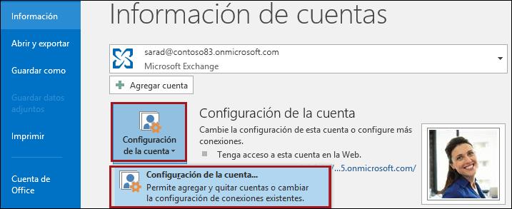 Configuración de la cuenta en Outlook