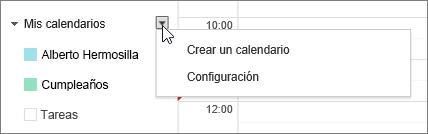 Elija Mi Calendario y, después, Configuración