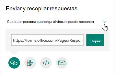Se muestran cuatro opciones para compartir un formulario: mediante copia, correo electrónico, código QR y más opciones