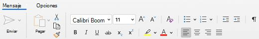 Grupo Fuente de la pestaña Mensaje en Outlook para Mac.