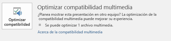Botón optimizar la compatibilidad en PowerPoint
