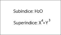 Ejemplo de subíndice y superíndice