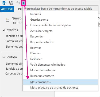 Agregar un comando a la barra de herramientas de acceso rápido