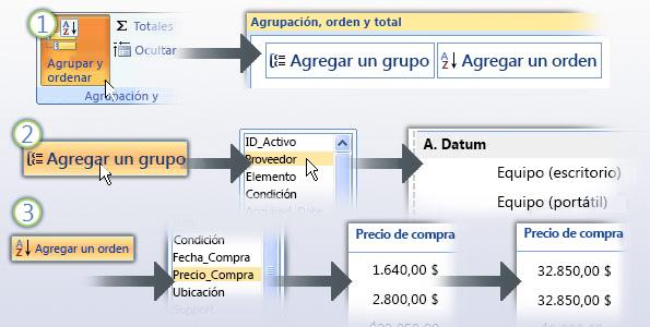 Agrupación y clasificación de datos en un informe