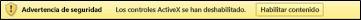 Mensaje de advertencia de barra de mensajes con ActiveX