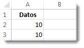 Datos de las celdas A2 y A3 en una hoja de cálculo de Excel