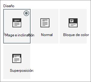 Opciones de diseños de página