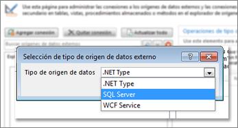 Captura de pantalla en la que aparece el diálogo Agregar conexión, donde se puede elegir un tipo de origen de datos. En este caso, el tipo es SQL Server, que se puede usar para conectarse a SQL Azure.