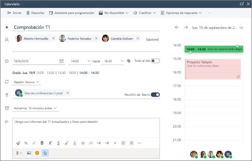Programar una reunión en Outlook en la Web