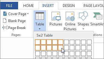Insertar cuadrícula de tabla