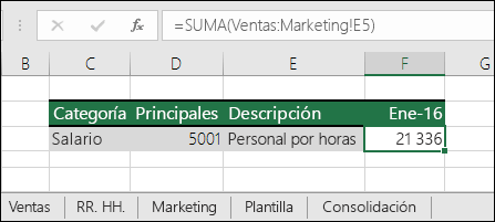 Fórmula de referencia 3D de hoja de Excel