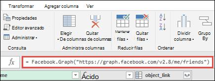 Editor de Power Query con fórmulas de Facebook