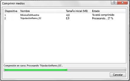 Compresión de archivos multimedia en curso