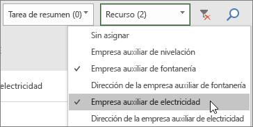 Captura de pantalla del menú desplegable Recursos de filtro en el Panel de tareas con dos recursos seleccionados
