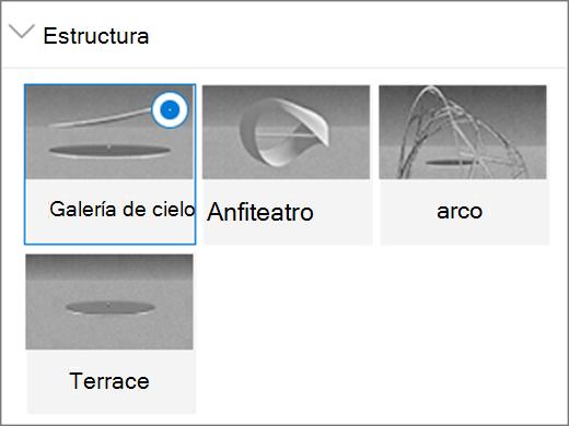Opciones de estructura