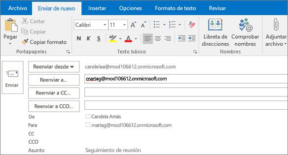 La captura de pantalla muestra la opción Enviar de nuevo en un mensaje de correo electrónico. En el campo Volver a enviar a, la dirección del destinatario la ha proporcionado la característica Autocompletar.