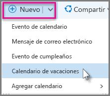 Agregue un nuevo Calendario de vacaciones