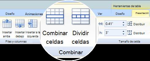 Combinar o dividir celdas de una tabla