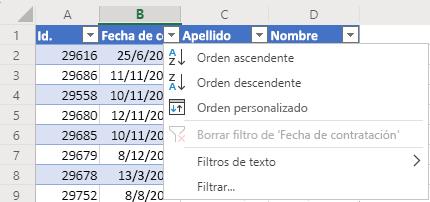 Tabla con 4 columnas: Id., Fecha de contratación, Apellidos y Nombre. El menú Autofiltro está abierto para la columna de Fecha de contratación