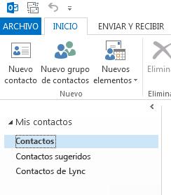 En Mis contactos, haga clic con el botón derecho en la carpeta Contactos.