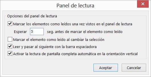 Configuración en el cuadro de diálogo panel de lectura