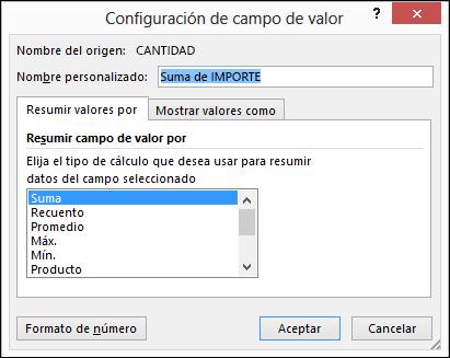 Cuadro de diálogo Configuración de campo de valor de Excel para las opciones Resumir valores por