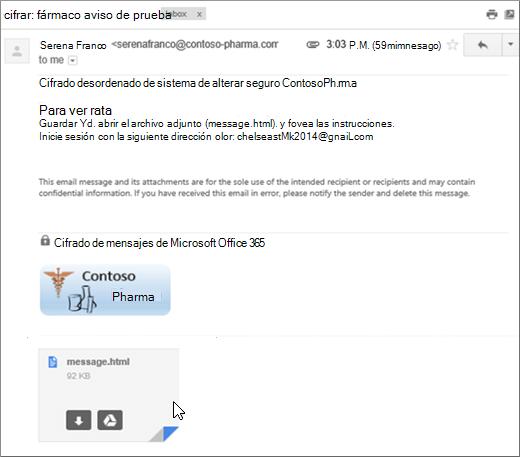 Abrir el archivo adjunto mensaje.html