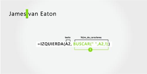 Fórmula para separar un nombre y un apellido de dos palabras