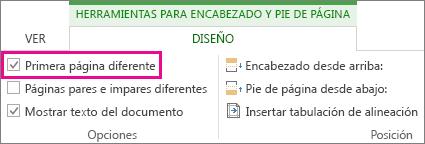 Imagen en la que aparece la casilla 'Primera página diferente' en Opciones, en Herramientas de encabezado y pie de página.