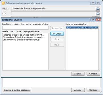 Puede seleccionar los destinatarios de una notificación de tarea por correo electrónico en el cuadro de diálogo Seleccione usuarios