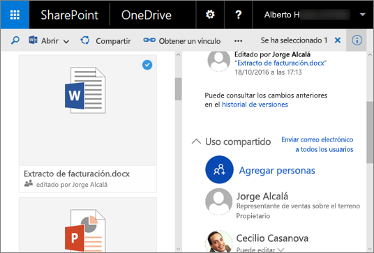 Captura de pantalla del panel de detalles en OneDrive para la Empresa en SharePoint Server 2016 con Feature Pack 1