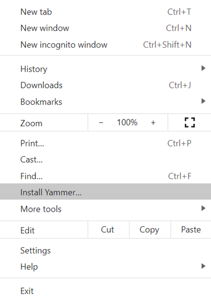 Captura de pantalla que muestra cómo instalar el Yammer para PWA con Chromium de archivos basados en Chromium de datos