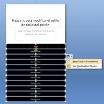 Patrón de diapositivas con opciones de formato mostradas