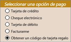 Controles de botones de radio de ejemplo