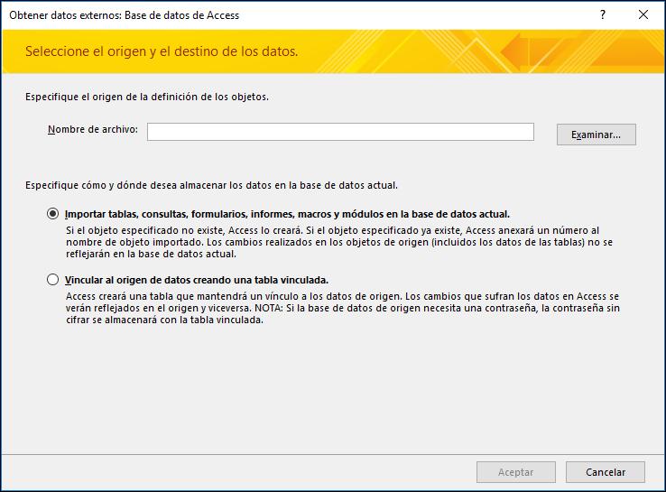 Captura de pantalla del asistente para importar Datos externos: Base de datos de Access