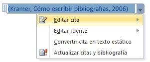 Haga clic en la flecha abajo y, a continuación, haga clic en Editar cita