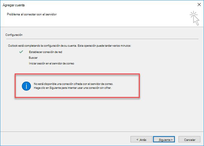 Error de conexión cifrada de Outlook