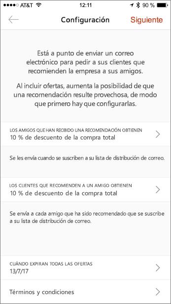 Rellene las ofertas para su referencia en la aplicación móvil
