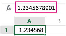 El número aparece redondeado en la hoja de cálculo pero completo en la barra de fórmulas.