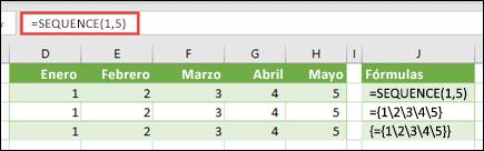 Crear una constante de matriz horizontal con = SEQUENCE (1, 5) o = {1, 2, 3, 4, 5}
