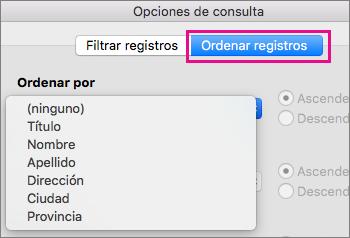 Haga clic en Ordenar registros para ordenar los elementos de la combinación de correspondencia