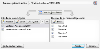 Cuadro de diálogo Seleccionar origen de datos