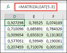 Función RANDARRAY con una matriz de 5 x 3: =RANDARRAY(5,3)