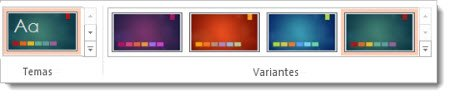 Pestaña Diseño: temas con variantes