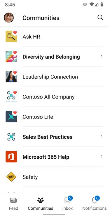 Captura de pantalla que muestra comunidades en la aplicación Yammer para Android