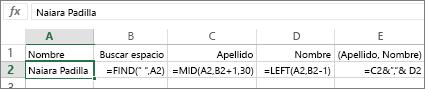 Fórmulas que convierten un nombre completo a Apellidos, Nombre