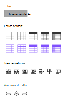 Insertar opciones de tabla