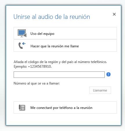 captura de pantalla del cuadro de diálogo unirse al audio de la reunión con la opción denominada hacer que la reunión me llame seleccionada