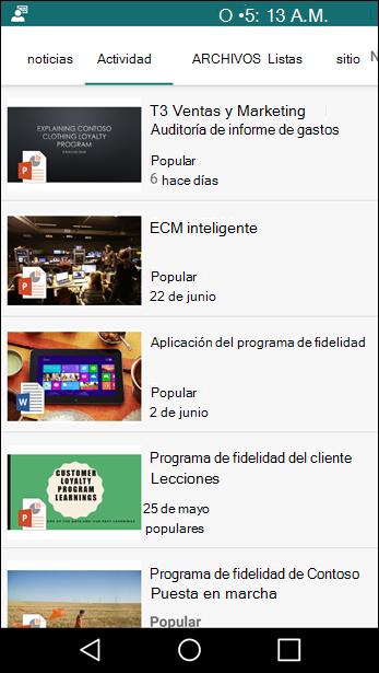 Vista móvil del sitio de grupo de SharePoint