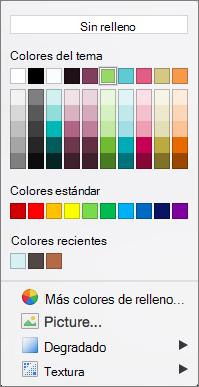 Opciones de color
